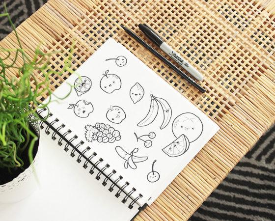 Jak rysować owocowe doodle, owocowa randka i plakat do druku.
