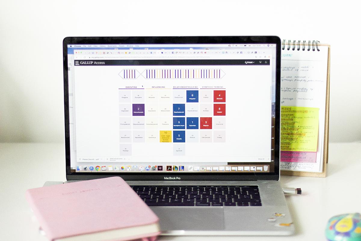 Zdjęcie biura z laptopem i wynikami testu Gallupa
